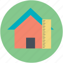 architectural project, house construction plan, house project, house with ruler, sketch icon
