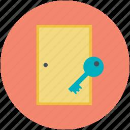 door, entrance, home security, house door, key sign icon