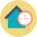 building, clock sign, house, property symbol, school building icon