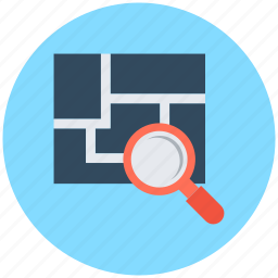 architectural project, architecture planning, blueprint, construction plan, magnifying icon