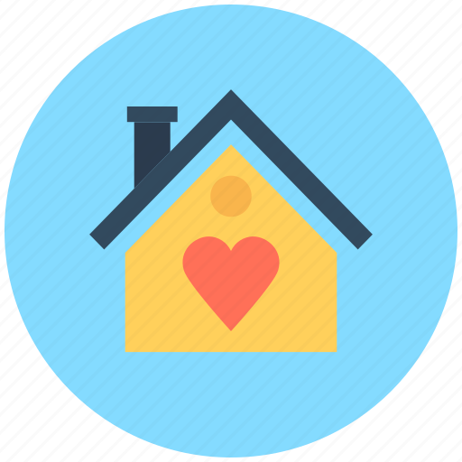 cottage, home, home with heart, hut, loving home icon
