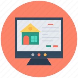 ecommerce, eshop, monitor screen, online property, online real estate icon
