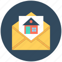 communication, home in envelope, mail, online real estate icon