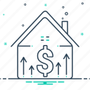 accumulation, mortgage, mortgage price, price, property, property price icon