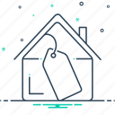 accumulation, cost, mortgage, mortgage price, price, property, property price icon