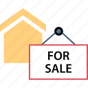 for, house, sale, sign icon