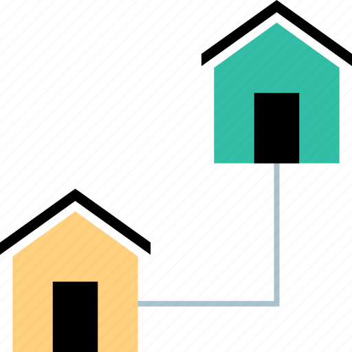 connect, homes, houses, neighbors icon