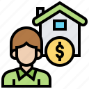 broker, estate, home, property, sale icon