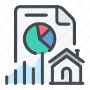 analytics, estate, home, house, real, statistics, stats icon