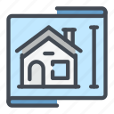 blueprint, estate, house, plan, property, real, size icon