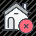 cross, delete, estate, home, house, real, remove icon