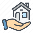 care, estate, hand, home, house, property, real icon