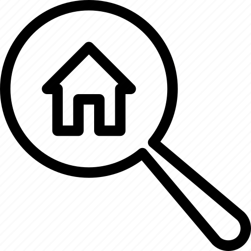 find, glass, home, house, search icon