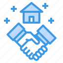 building, deal, estate, hand, house, property, shake icon