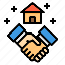 building, deal, hand, house, property, real estate, shake icon