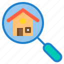 building, house, property, real estate, search icon