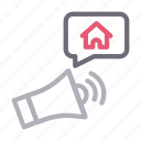 ads, advertisement, building, house, property icon