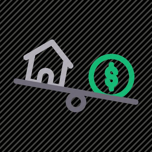 balance, dollar, house, property, realestate icon