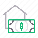 dollar, house, property, realestate, rent icon