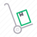 box, delivery, dolly, package, parcel icon
