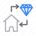 diamond, exchange, house, property, realestate icon