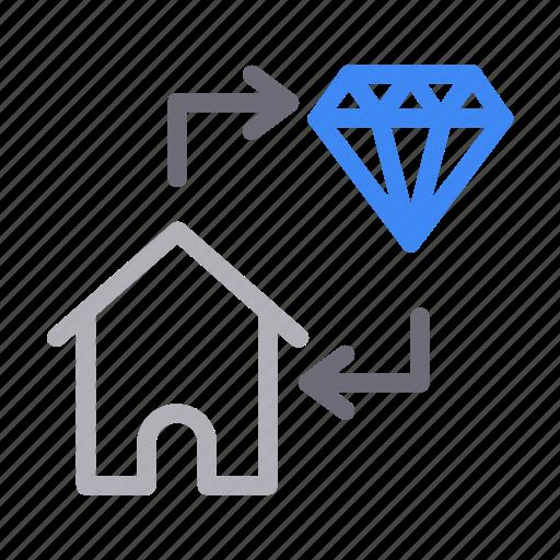 diamond, exchange, house, property, realestate icon