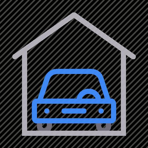 automobile, car, garage, house, vehicle icon