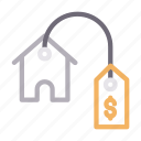 home, house, pricetag, realestate, rent icon