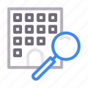apartment, building, house, magnifier, search icon