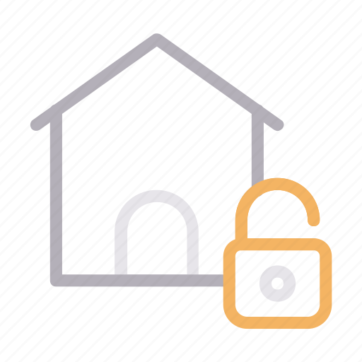 building, home, house, protection, unlock icon