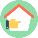 cottage, hand gesture, home, house, this way