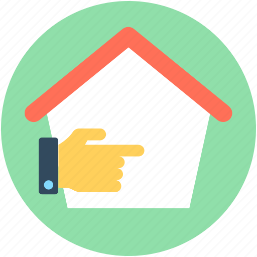 cottage, hand gesture, home, house, this way icon