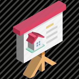business presentation, chart presentation, flip-chart, pie chart, projected presentation icon