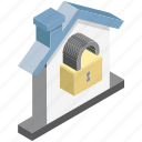 cottage, home locked, house, mortgage, unlocking icon