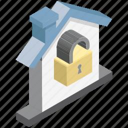 cottage, home locked, house, mortgage, unlocking icon