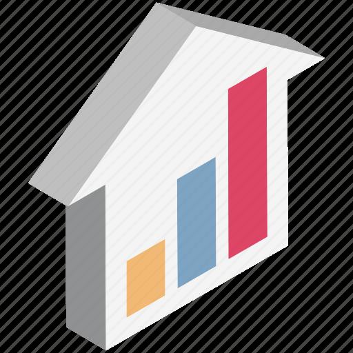 analytic, bar chart, bar graph, hut, property, stat icon