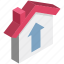arrow, cottage, home, house, hut, up arrow icon