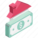 asset pricing, building, dollar, house price, house value, property value, real estate icon