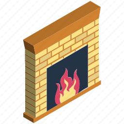 chimney, comfort, fireplace, fireside, hearth, interior fireplace, warm icon