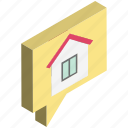chat balloon, chat bubble, comments, house, property, speech balloon, speech bubble icon
