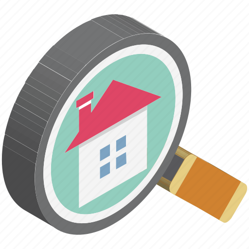 find property, house, house search, magnifier, magnifying glass, property search, real estate icon
