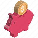 cash bank, cash box, money bank, money box, penny bank, piggy bank, saving money icon