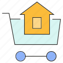 buy, home, house, real estate, shopping, shopping cart icon