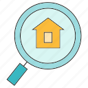 home, house, magnifier, real estate, search icon