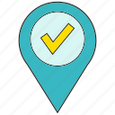 approve, check, location, pin icon