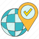 approve, check, globe, location, pin, world icon