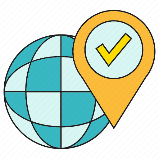 approve, check, globe, location, pin, world icon