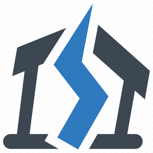 accident, broken, earthquake icon