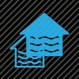 apartment, flood, home, house, real, setate icon