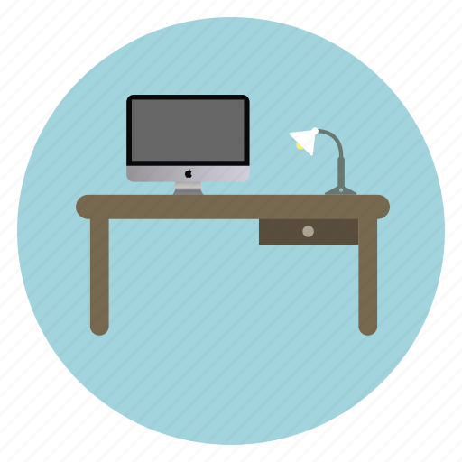 computer, desk, lamp, pc, table, work icon
